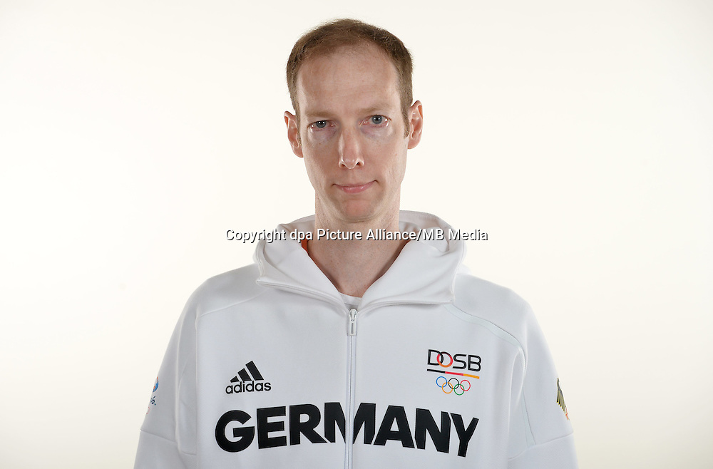 Lars Lippelt poses at a photocall during the preparations for the Olympic Games in Rio at the Emmich Cambrai Barracks in Hanover, Germany. July 25, 2016. Photo credit: Frank May/ picture alliance.   usage worldwide