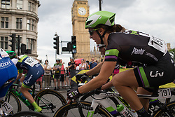 Leah Kirchmann (CAN) of Liv-Plantur Cycling Team leans into the corner leading onto Whitehall during the Prudential RideLondon Classique, a 66 km road race in London on July 30, 2016 in the United Kingdom.