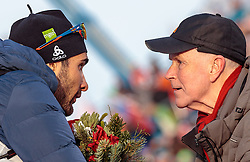 09.02.2017, Biathlonarena, Hochfilzen, AUT, IBU Weltmeisterschaften Biathlon, Hochfilzen 2017, Flower Zermonie, im Bild Martin Fourcade (FRA), IBU Präsident Anders Besseberg // Martin Fourcade of France IBU President Anders Besseberg during Flower Ceremony of the Mixed Relay of the IBU Biathlon World Championships at the ENGLISH Biathlonarena in Hochfilzen, Austria on 2017/02/09. EXPA Pictures © 2017, PhotoCredit: EXPA/ JFK
