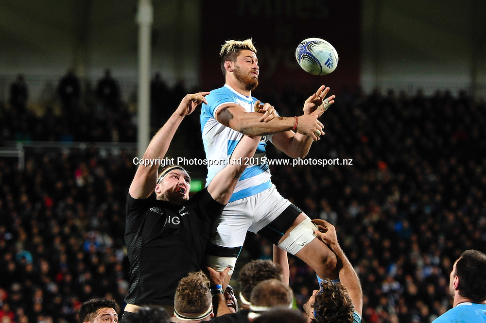 Javier Ortega Desio of Argentina  and Brodie Retallick of the All Blacks  at line out time during the Rugby Championship rugby match, All Blacks v Argentina, at AMI Studium, Christchurch, New Zealand on the 17 July 2015. Copyright Photo: John Davidson / www.photosport.nz
