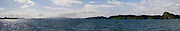 Panoramic view of the Bay Islands from the water; Northland, New Zealand.