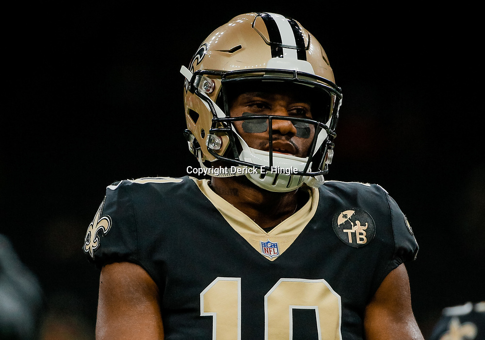 Aug 17, 2018; New Orleans, LA, USA; New Orleans Saints wide receiver Tre'Quan Smith (10) before a preseason game against the Arizona Cardinals at the Mercedes-Benz Superdome. Mandatory Credit: Derick E. Hingle-USA TODAY Sports