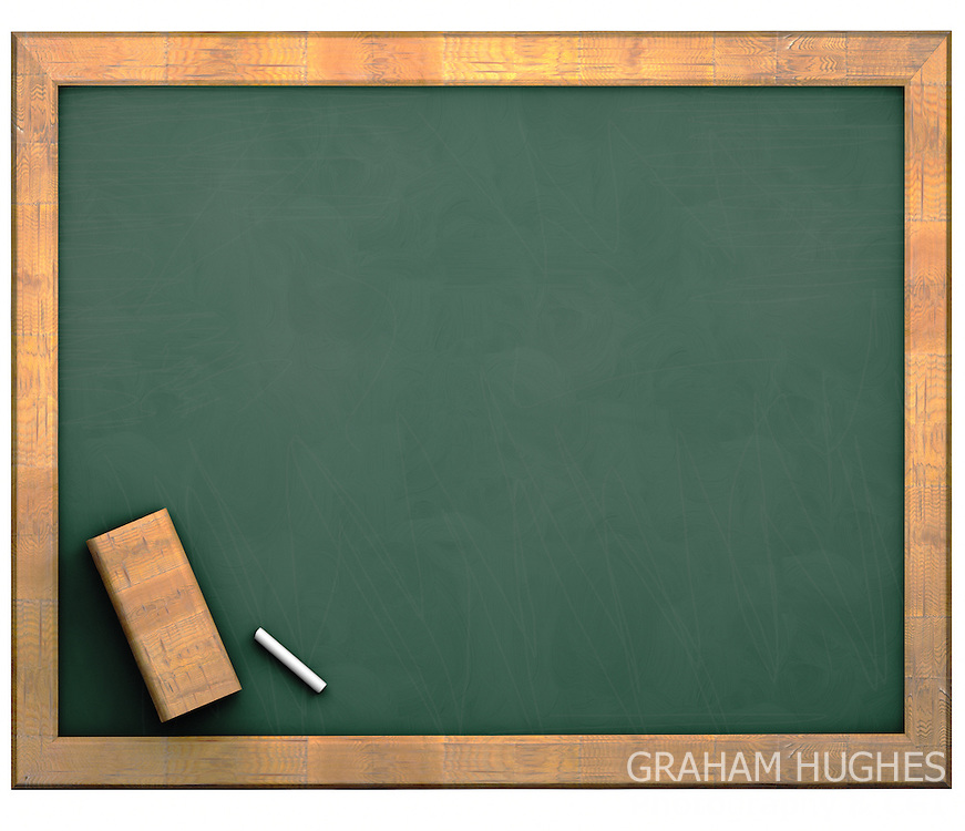 Green school chalk board with wooden frame.
