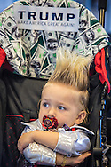19 month Curtis Ray Jeffrey II, a professional baby model whose hair is worn to mimic Trumps from f Bluff Creek, LA ,at a campaign rally in New Orleans,, LA for Republican presidential candidate Donald Trump. The New Orleans rally on Friday, March 4, 2016 at Lakefront Airport took place a day before the primary vote.