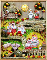 Stock photo of a Ukrainian souvenir Ukrainian people countryside scenic farm Vertical