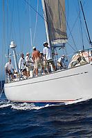 Crew on sailboat on ocean