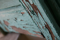green painted wooden shutters