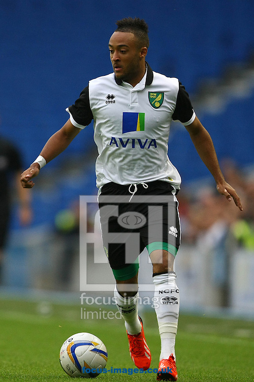 Picture by Paul Chesterton/Focus Images Ltd +44 7904 640267<br /> 30/07/2013<br /> Nathan Redmond of Norwich in action during the Pre Season Friendly match at the American Express Community Stadium, Brighton and Hove.
