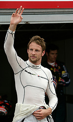 MONTE-CARLO, MONACO - Saturday, May 23, 2009: Jenson Button (GBR, Brawn GP) celebrates landing his fourth pole position of the season after a dramatic Monaco Grand Prix qualifying session at the Monte-Carlo Circuit. The Brawn GP driver came through late to pip Ferrari's Kimi Raikkonen with a time of one minute 14.902 seconds. (Pic by Juergen Tap/Hoch Zwei/Propaganda)