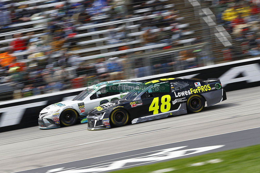 April 8, 2018 - Ft. Worth, Texas, United States of America - April 08, 2018 - Ft. Worth, Texas, USA: Jimmie Johnson (48) and Gray Gaulding (23) battle for position during the O'Reilly Auto Parts 500 at Texas Motor Speedway in Ft. Worth, Texas. (Credit Image: © Chris Owens Asp Inc/ASP via ZUMA Wire)