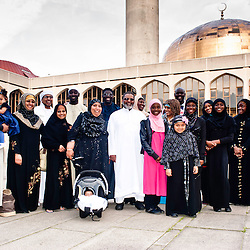 London, UK - 21 July 2012: Team GB Olympic discus thrower Abdul Buhari poses for pictures with the Muslim community at the Ramadan Iftar 2012 celebrations hosted at the Islamic Cultural Centre (ICC) in Regents Park.