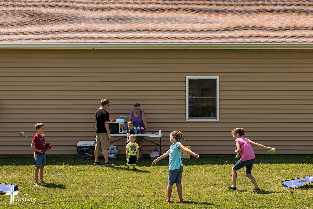 Children play games at the grand opening of the Iowa Life Care (LC) Clinic on Saturday, Aug. 15, 2015, in Creston, Iowa. The clinic is a former Planned Parenthood facility. LCMS Communications/Erik M. Lunsford