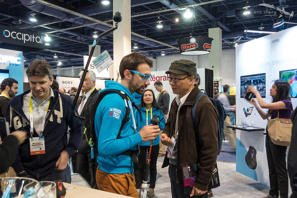 In the future, everyone will be wearing 360 cameras above their heads (at Giroptic booth). CES 2016, Las Vegas.