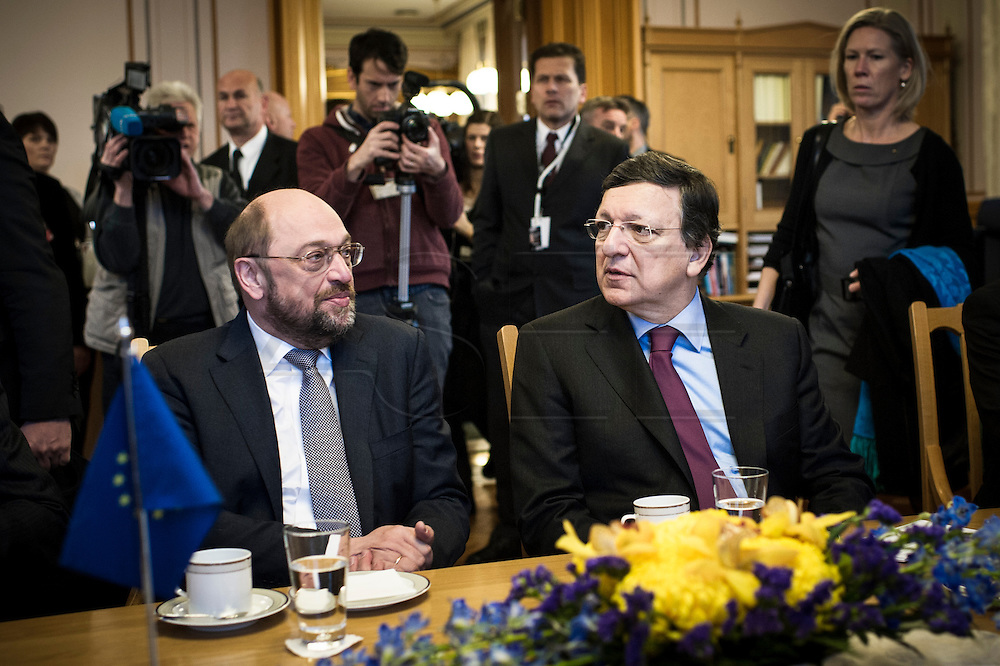 Martin Schulz and Jose Manuel Barrosa at the Norwegian Parliament.