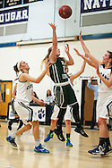 Rice guard Jordan Lawrence (11) leaps to take a shot during the girls basketball game between the Rice Green knights and the Mount Mansfield Cougars at MMU High School on Friday night December 4, 2015 in Jericho. (BRIAN JENKINS/for the FREE PRESS)