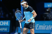 Rafael Nadal wins an important point during the ATP World Tour Finals at the O2 Arena, London, United Kingdom on 20 November 2015. Photo by Phil Duncan.