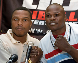 July 6, 2006 - New York, NY - Former Welterweight champions, Ike Quartey (l) and Vernon Forrest (r) pose during the press conference announcing their upcoming August 5, 2006 fight at the Theater at Madison Square Garden.