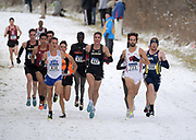 Nov 17, 2018; Madison, WI, USA; Conner Mantz (430) of BYU, Joe Klecker (447) of Colorado, Morgan McDonald (723) of Wisconsin and Tyler Day (556) of Northern Arizona  lead the men's race during the NCAA Cross Country Championships at the Thomas Zimmer Championship Course. McDonald won in 29:08.3
