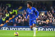 Chelsea Midfielder Willian in action during the Premier League match between Chelsea and Newcastle United at Stamford Bridge, London, England on 12 January 2019.