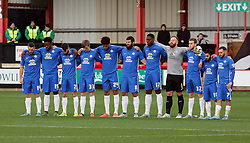 Peterborough United players stand for a minute silence in memory of those that lost their lives in recent terrorist attacks - Mandatory byline: Joe Dent/JMP - 07966 386802 - 21/11/2015 - FOOTBALL - Alexandra Stadium - Crewe, England - Crewe Alexandra v Peterborough United - Sky Bet League One
