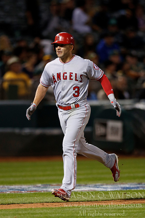 OAKLAND, CA - APRIL 04:  Danny Espinosa #3 of the Los Angeles Angels of Anaheim rounds the bases after hitting a three run home run against the Oakland Athletics during the ninth inning at the Oakland Coliseum on April 4, 2017 in Oakland, California. The Los Angeles Angels of Anaheim defeated the Oakland Athletics 7-6. (Photo by Jason O. Watson/Getty Images) *** Local Caption *** Danny Espinosa