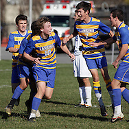 Lansing's Andy Parks (10) celebrates after scoring a goal in the first half of a Class C state semifinal boys' soccer game against Hoosick Falls at Faller Field on Middletown on Saturday, Nov. 17, 2012.
