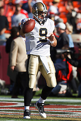 September 20, 2010; San Francisco, CA, USA;  New Orleans Saints quarterback Drew Brees (9) warms up before the game against the San Francisco 49ers at Candlestick Park.