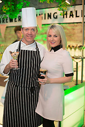 Repro Free: 14/03/2014 Guinness Storehouse Executive Chef Justin O'Connor is pictured with Rebecca Brady at the Guinness Storehouse St. Patrick's Festival. The four day festival is showcasing some of Ireland's best music, food and rugby over the weekend including an intimate performance by acclaimed rock band The Coronas. Enjoy GUINNESS sensibly. Visit drinkaware.ie Pic Andres Poveda