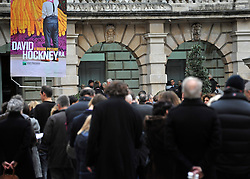 © Licensed to London News Pictures. 21/01/2012, London, UK. Visitors queue for the opening of the David Hockney Exhibition 'A Bigger Picture' at The Royal Academy of Art in Central London today, 21 January 2012. The exhibition showcases Hockney's first UK exhibition of landscape works, covering 50 years of Hockney's fascination with landscapes.  Photo credit : Stephen Simpson/LNP
