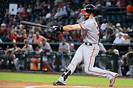 PHOENIX, AZ - AUGUST 03:  Bryce Harper #34 of the Washington Nationals hits a ground rule double to right in the first inning against the Arizona Diamondbacks at Chase Field on August 3, 2016 in Phoenix, Arizona. The Nationals beat the Diamondbacks 8 to 3.  (Photo by Jennifer Stewart/Getty Images)