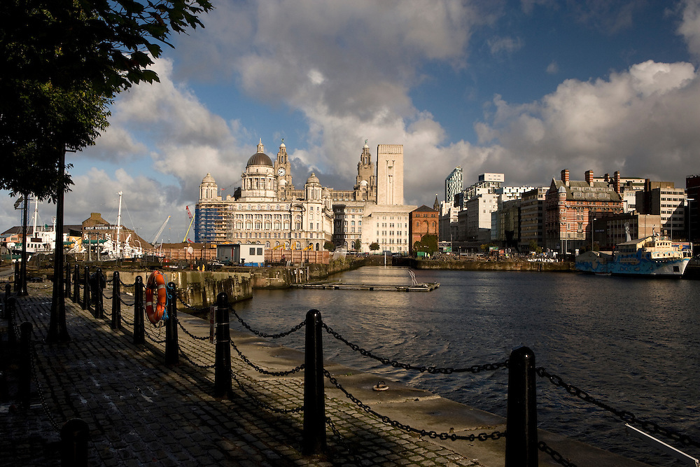 Pier Head and The Three Graces, Liverpool, England, UK