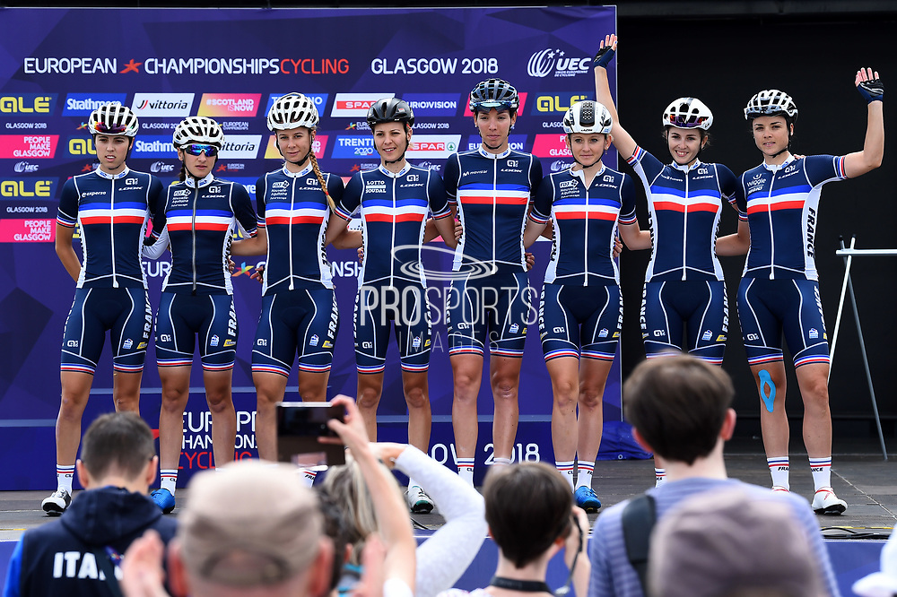 Podium, Women Road Race 129,4 km, Team France, during the Cycling European Championships Glasgow 2018, in Glasgow City Centre and metropolitan areas, Great Britain, Day 4, on August 5, 2018 - Photo Dario Belingheri / BettiniPhoto / ProSportsImages / DPPI - Belgium out, Spain out, Italy out, Netherlands out -