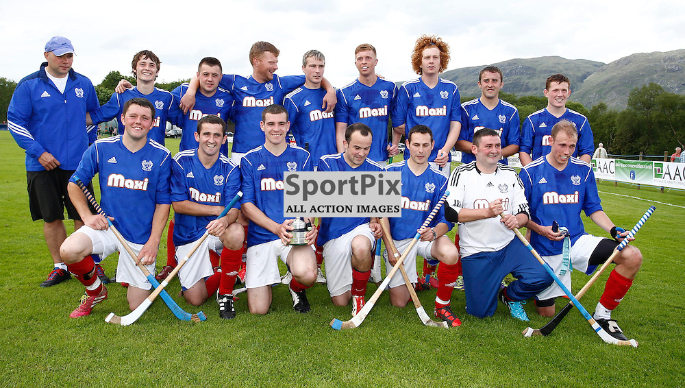 Oban Camanachd v Kyles Athletic. The 111th Glasgow Celtic Society Cup Final, shinty's oldest competition, held at Taynuilt sport's field. Oban Camanach and Kyles Athletic competed for the trophy..Kyles Athletic win by four goals to 2...(c) STEPHEN LAWSON | SportPix.org.uk