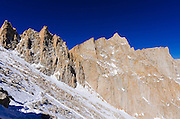 Early snow on the Mount Whitney trail, John Muir Wilderness, Sierra Nevada Mountains, California USA