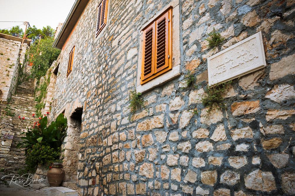 Shuttered window and street sign, Skradin, Dalmatia, Croatia