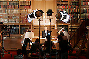 "Library of the Senat - Paris, France. July 4th 2006..Jean Pierre Elkabbach, the President of the French TV channel ""Public Senat"", during the emission ""Bibliotheque Medicis""..."