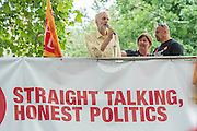 There are so many people that he holds an impromptu rally outside from the top of a fire Brigade Union engine. Jeremy Corbyn holds a campaign meeting as part of his Labour Party leadership challenge - with support of Ken Livingstone at the Camden Town Hall, London, UK 03 Aug 2015