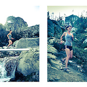 Woman trail running in Bugaboo  Provincial Park of British Columbia, Canada.