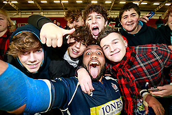 Bristol Rugby prop Jamal Ford-Robinson poses for a selfie with supporters - Mandatory byline: Rogan Thomson/JMP - 22/01/2016 - RUGBY UNION - Ashton Gate Stadium - Bristol, England - Bristol Rugby v Ulster A - British & Irish Cup.