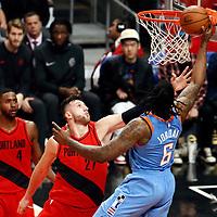 18 March 2018: LA Clippers center DeAndre Jordan (6) goes for the layup past Portland Trail Blazers center Jusuf Nurkic (27) during the Portland Trail Blazers 122109 victory over the LA Clippers, at the Staples Center, Los Angeles, California, USA.