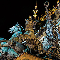 Triga statue on the roof of the National Theatre in Prague