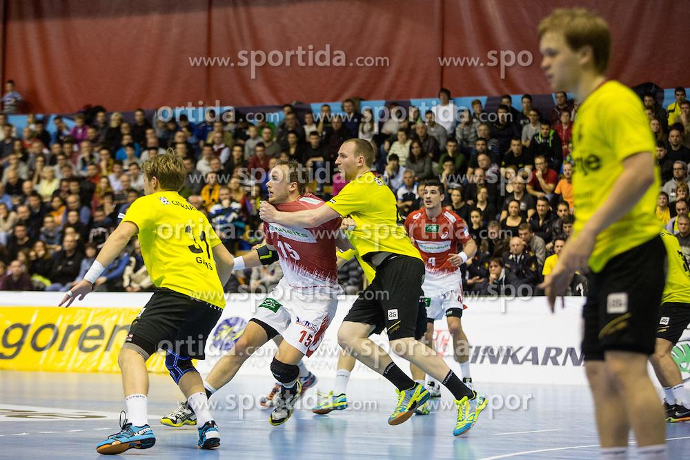 Nosan Mitja of Rk Gorenje Velenje & Toft Hanesn of HSV Hamburg during handball match between RK Gorenje Velenje (SLO) and HSV Hamburg (GER) in Group Phase of EHF European Cup 2014/15, on March 14, 2015 in Rdeca dvorana, Velenje, Slovenia. Photo by Grega Valancic / Sportida