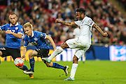 England's Raheem Sterling  takes a shot during the UEFA European 2016 Qualifier match between England and Estonia at Wembley Stadium, London, England on 9 October 2015. Photo by Shane Healey.