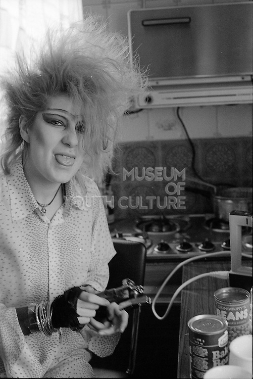 Chigwell Punk Girl in the Kitchen, UK, 1980s.