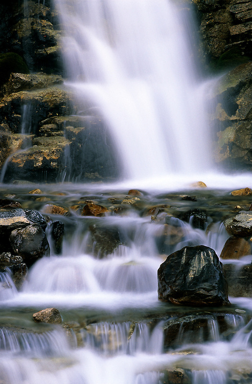 Tanglecreek falls stand between Jasper and Banff National Parks, near the Icefields Parkway, one of the most scenic roads in North America