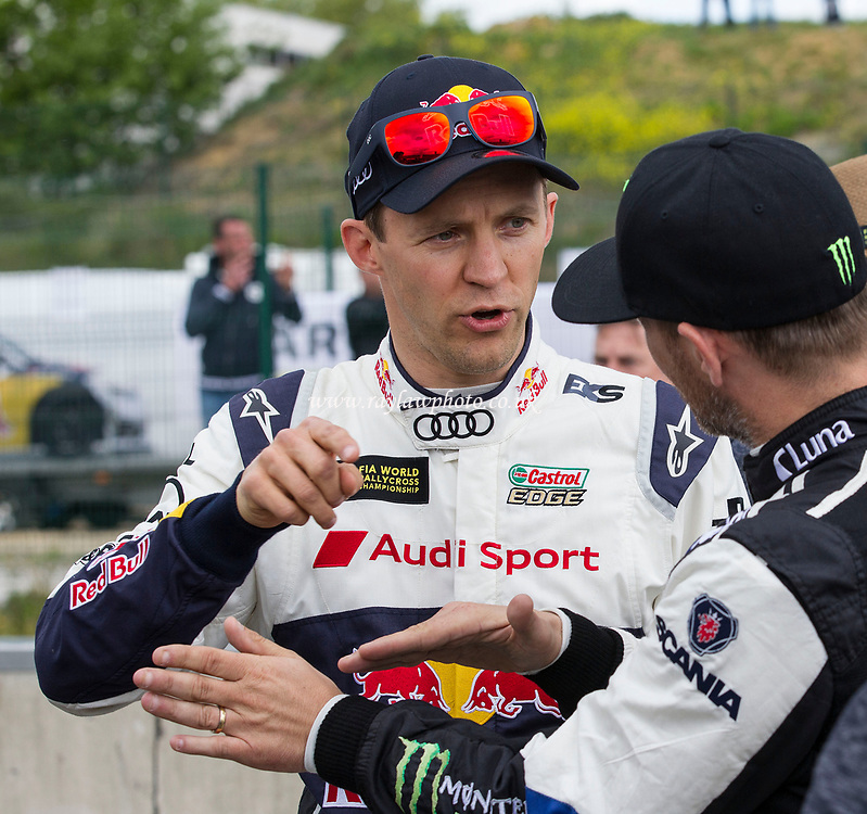 Mattias Ekstrom, Team EKS and Petter Solberg, PSRX Volkswagen, World Team Sweden in conversation during WRX 2017 Round Four Race Day at Circuit Jules Tacheny on 14th May 2017
