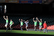 a general view of Wales rugby team training  during the Wales rugby team captains run at the Millennium Stadium, Cardiff, South Wales on Thursday 20th Feb 2014. pic by Andrew Orchard, Andrew Orchard sports photography.