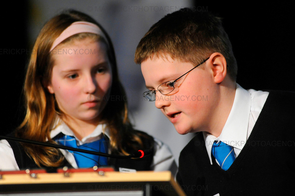 Teams compete in the Glasgow regional heats of the Times Spelling Bee contest.  Popular in the USA, the Times Spelling Bee has captured the imagination of Britainís secondary school children.  Teams from 754 schools will put their spelling to the test in 89 local heats over the next couple of months. Pictured pupils from Calder Glen High School, l to r Sarah McKay and Joseph Cameron.