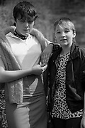 Alison and Sonia in Hawthorne Rd, High Wycombe, UK, 1980s.