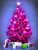 Bright pink abstract Christmas tree with gifts under it. Artistic colorful illustration isolated on blue background.